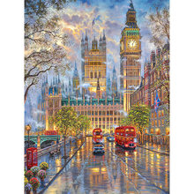 "100% Full 5D Diy Daimond Painting ""London Street View"" 3D Diamond Painting Round Rhinestones Diamant Painting Embroidery Scenery(China)"