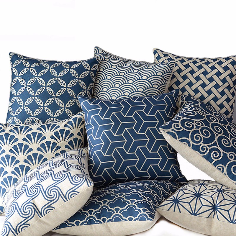 Cojines Wholesale 100% Ny Linned Bomuld Deep Blue Geometry Pudebetræk Kaste Pudebetræk Home Decor