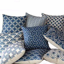 Free Shipping Cojines Wholesale 100% New Linen Cotton Deep Blue Geometry Cushion Cover Throw Pillow Case Home Decor цена и фото