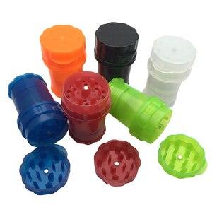 Image 1 - Plástico contador de tabaco erva spice grinder 4 camadas cor aleatória ervas fumaça spice crusher caso transparente presente plástico fornecimento vendas