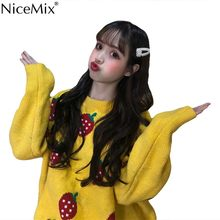 NiceMix Harajuku Inverno Malhas Casuais Camisola Mulheres Pullovers Morango Berry Solto Jumpers Mulher Roupas Puxar Femme Hiver(China)