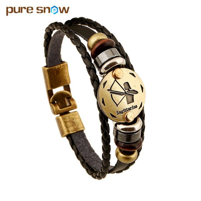 Men Fashion Bronze Alloy Punk Leather Wooden Bead + Black Gallstone Buckles 12 Zodiac Signs Bracelet