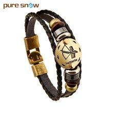 Fashion Bronze Alloy Buckles 12 Zodiac Signs Bracelet Punk Leather Bracelet Wooden Bead + Black Gallstone For Men Charm Jewelry