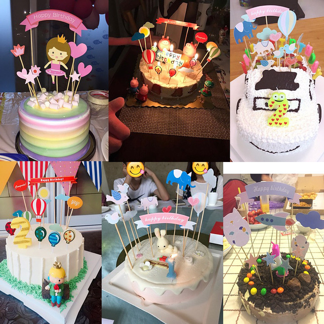 High Quality 200sets/lot Happy Birthday Cake Decoration Items Kids Birthday Party  Supplies Cake Decorating Tools