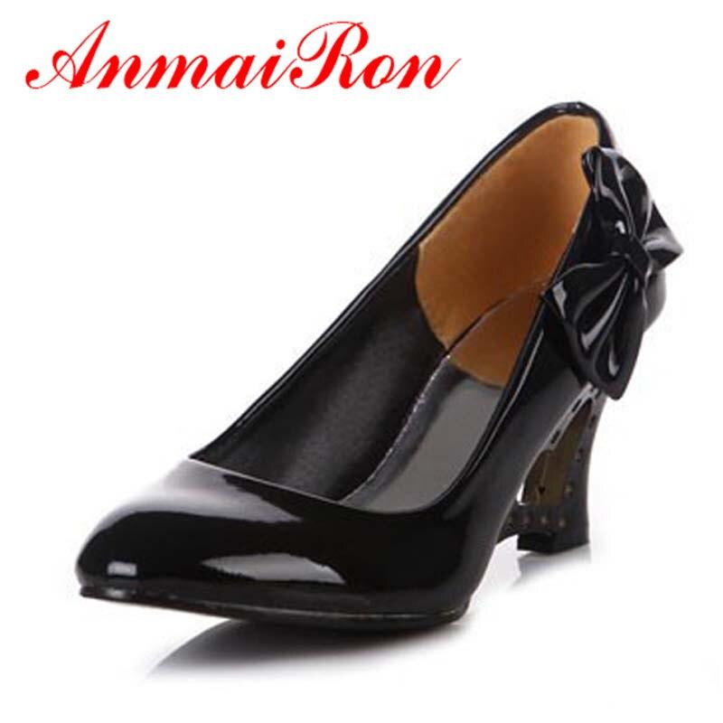 f33fe0994d ANMAIRON Bowtie Bombas Mulheres Sapatos Novo estilo Big size34-43 bowtie  Casuais cunhas Couro De Patente sapatos de salto alto das mulheres por  atacado