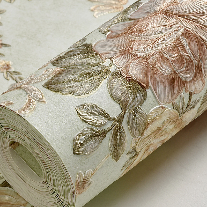 Luxury Classic Wall Paper Home Decor Background Wall Damask Wallpaper Pink Floral Wallcovering 3D Embossed Wallpaper Living Room 7 colors optional beige floral wallpaper damask wallpaper pvc wall murals free shipping best wallpaper qz0314