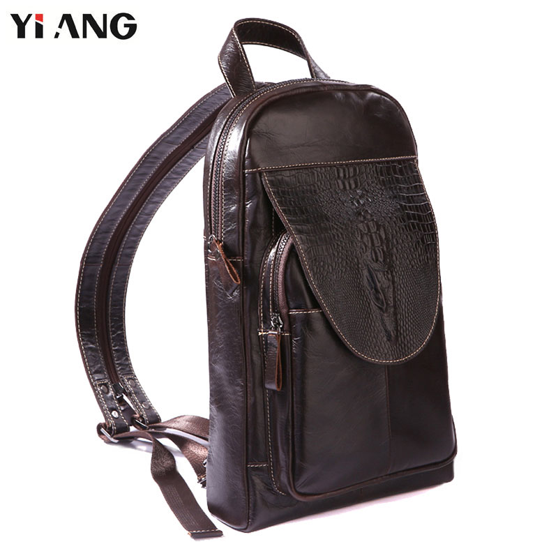 YIANG Men Backpack Genuine Leather Crocodile Pattern Laptop Backpacks College Student School Backpack Multifunctional Backpack crocodile embossed pattern bright colour feminine genuine leather laptop backpack