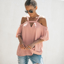 Women Off Shoulder T-Shirt Casual Ruffle Sleeve Tops Summer Short Loose Tees