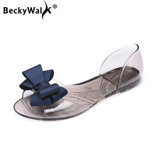 Women Sandals Open Toe Summer Jelly Shoes Woman Fashion Butterfly-knot Flat Sand