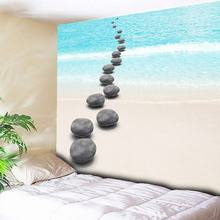 Strolling on Beach Pebbles Print Decorative Tapestry Paintings Wall Hanging Art Decor Wall Background Cloth Hippie Wall Blanket wall hanging art decor window beach wave print tapestry