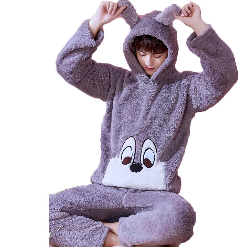 Winter Men Pyjama Set Tops and Pant Tracksuit 2 Piece Men Sleepwear Cute Cartoon Hooded Pajamas For Men Coral Velvet Home Wear