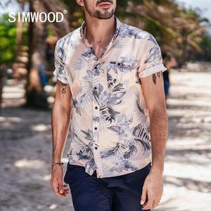 Image 2 - SIMWOOD 2020 été nouveau hawaii manches courtes chemises hommes vacances 100% coton respirant à fleurs chemise de grande taille vêtements 190263