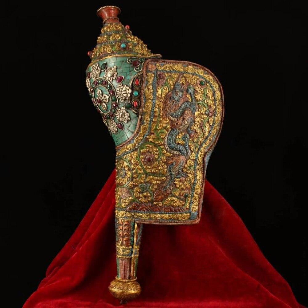 Lonng 44 см/17,3 дюйма! Тибетский ручная роспись браслет из прородного белого камня инкрустированные полудрагоценные камни чистая бронза восемь