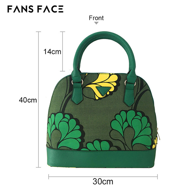 FANS FACE Fresh Summer Style Fashion African Print Green Handbag Female 2017 Luxury Handbags Women Bags Designer 30*16*41cm 2