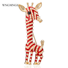WNGMNGL 2018 New Lovely Giraffe Buckle for Women Simulated Pearl Animal Brooches Pins Clip Clothes Scarf Pin Fashion Jewelry