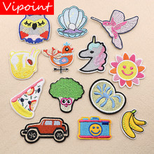 VIPOINT embroidery owl bird patches sun banana badges applique for clothing XW-34