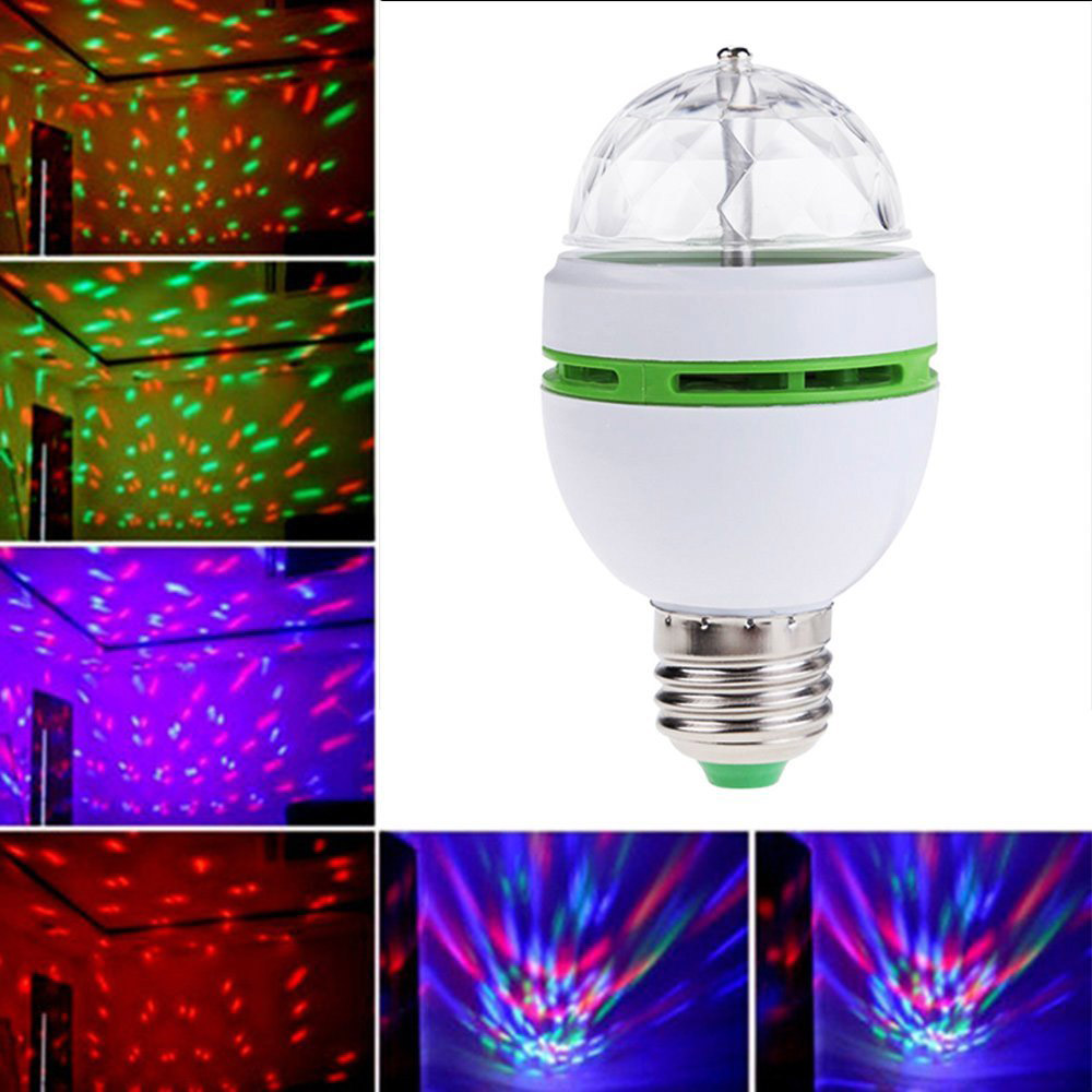 1Pcs 3W 6W RGB LED lamp E27 AC 110V - 220V Auto Rotating Stage lights Magic Ball Bulb For Home DJ Party Dance Decoration