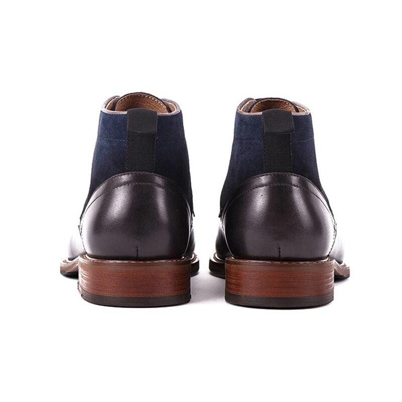 En Nouveau Chaussures Bout De Ss303 Black Blue Cuir And Véritable Daim Haute top Cowboy Vache Martin Main Homme Mode Cheville marron Plein Rond Bureau Air Hommes Bottes wiTOkXPZu