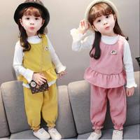 Girls Suit Baby Corduroy Children S Vest Shirts Pants Girls Clothing Sets Toddler Girl Cartoon Print