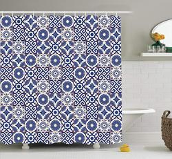 Marokańska zasłona prysznicowa w starym stylu osmańskim inspirowana mieszanką marokańskich płytek w nowoczesnych odcieniach grafika drukowana zestaw dekoracyjny do łazienki