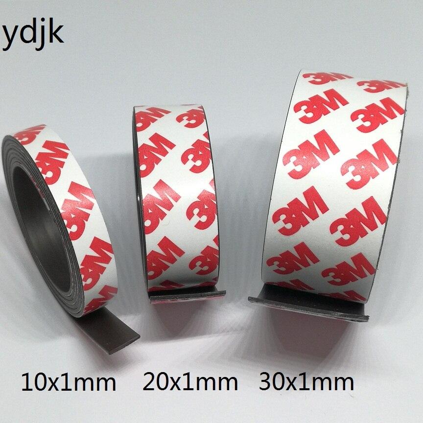 1 metrów/partia gumowy magnes 10*1 20*1 30*1mm samoprzylepny elastyczny pasek magnetyczny gumowa taśma magnetyczna szerokość 10mm/20mm/30mm