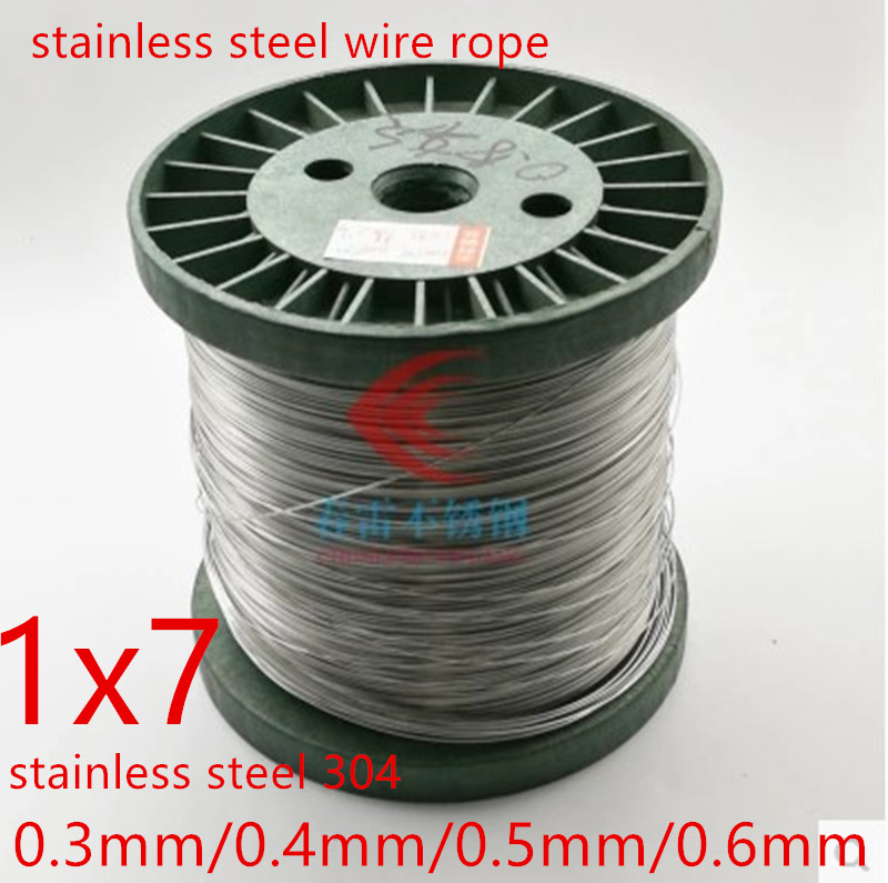 100M/Roll 1X7 Structure AISI 304 0.3mm 0.4mm 0.5mm 0.6mm Diameter Stainless Steel Wire Rope цены