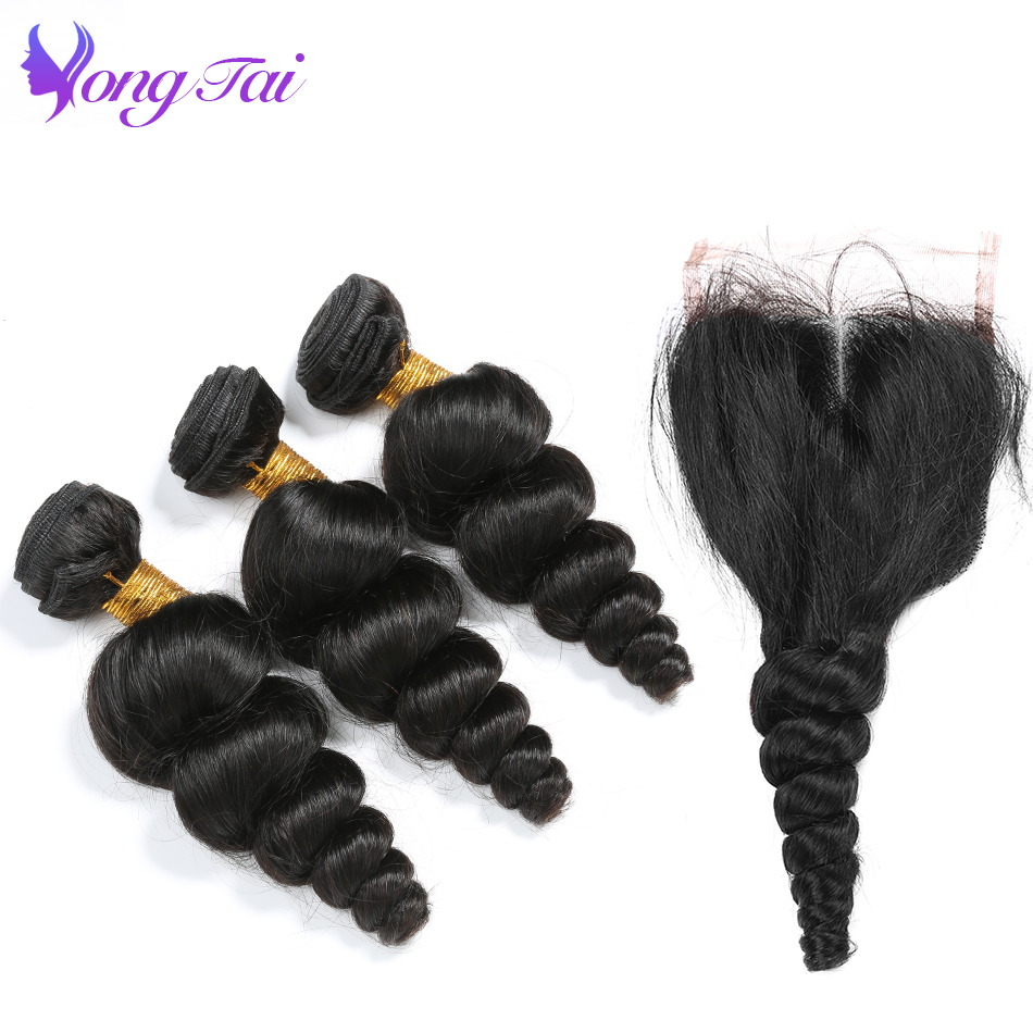 loose wave bundles with closure peruvian hair 3 bundles with closure Yongtai non remy human hair