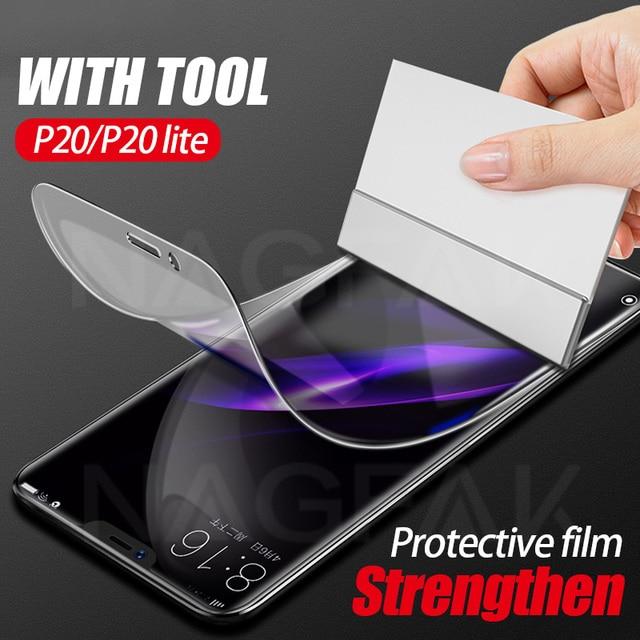 3Dフル保護ソフトヒドロゲルhuawei社P20 lite P20プロカバースクリーンプロテクターフィルム名誉9 8 lite v10映画ではないガラス