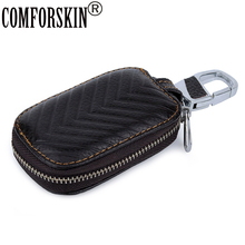 COMFORSKIN Brand Designer Geometric Key wallet New Arrivals Multi-function Case For Car Guaranteed Cowhide Unisex Holder