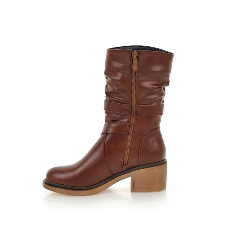 EGONERY kadın moda kar botları bayanlar toka ayakkabı kaliteli yuvarlak ayak 3 renk siyah kahverengi kış yeni stil orta buzağı çizmeler