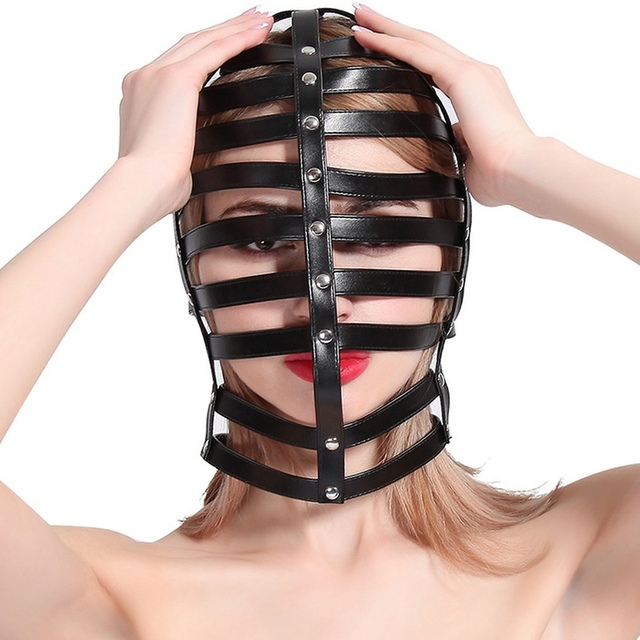 Black Hollow Out Leather Harness Body Cage Bdsm Bondage -2866