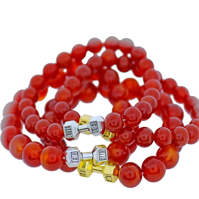 5pcs Red Agate Beads Bracelets Natural Stones with Dumbbell Pendant Bracelet Women Handmade Fashion Jewelry  Wholesale