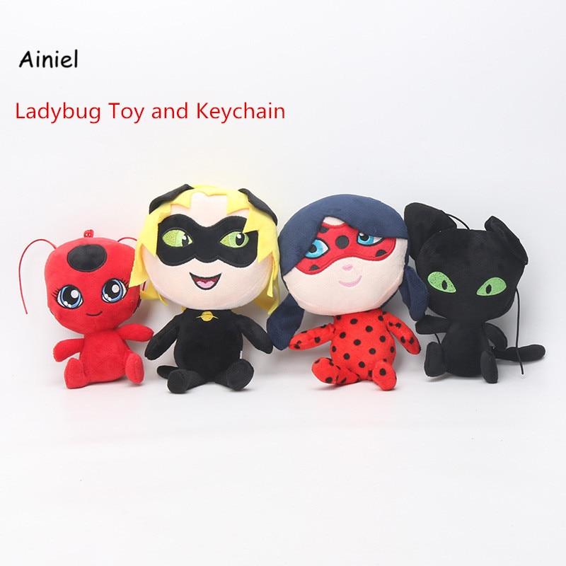 Ainiel Ladybug Party Gift Toys Keychain Cat Noir Peluche Lady Bug Plagg Tikki Stuffed Dolls Toy Kids 15CM-30CM