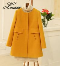 2019 winter new womens Korean version of the self-cultivation thickening a word round neck woolen coat