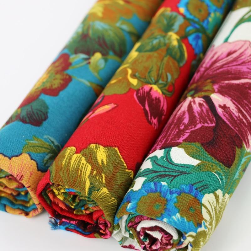 50cm * 140cm conception florale décorer tissu de lin cheongsam lin coton imprimé vêtements matériel