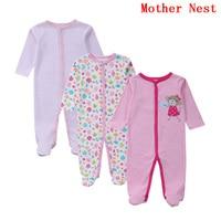 3 PCS Set Baby Romper Long Sleeves Cotton Baby Pajamas Cartoon Printed Newborn Baby Girls Boys