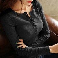 Осень Для женщин футболка длинный рукав самосовершенствование в кнопку хлопковая куртка закрыть показать забота универсальная одежда Tee