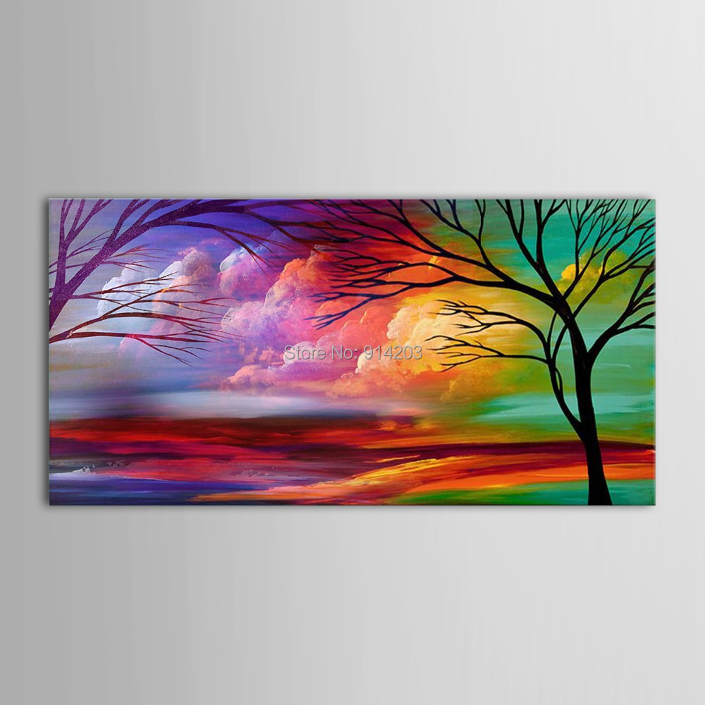Hand Painted Modern Oil Painting Tree Landscape Natural ... - photo#37