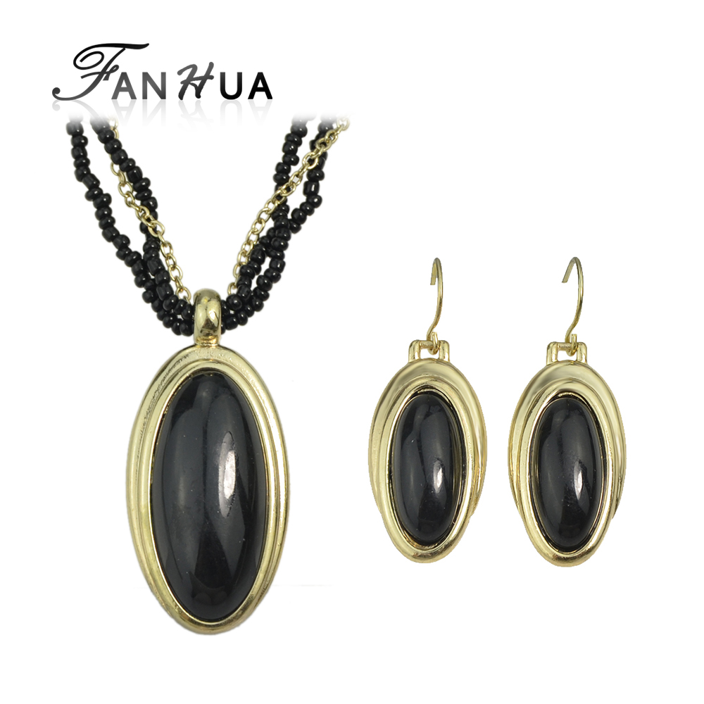 Fanhua Cheap Costume Jewelry Sets Water Drop Black Beads Necklace And  Pendents Bijuteria Drop Earrings(