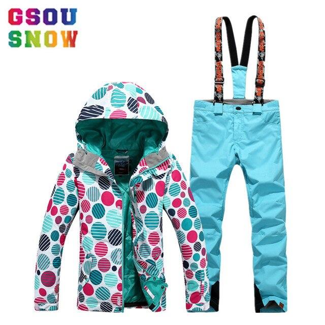 GSOU SNOW дешевый лыжный костюм для женщин лыжная куртка сноуборд брюки для девочек Зимние непромокаемые горные лыжи костюм женская уличная спортивная одежда