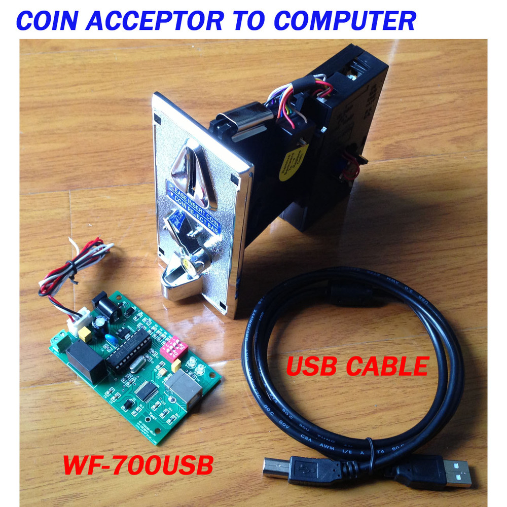 USB type adapter for Pulse type Coin acceptor to computer (package including coin acceptor)