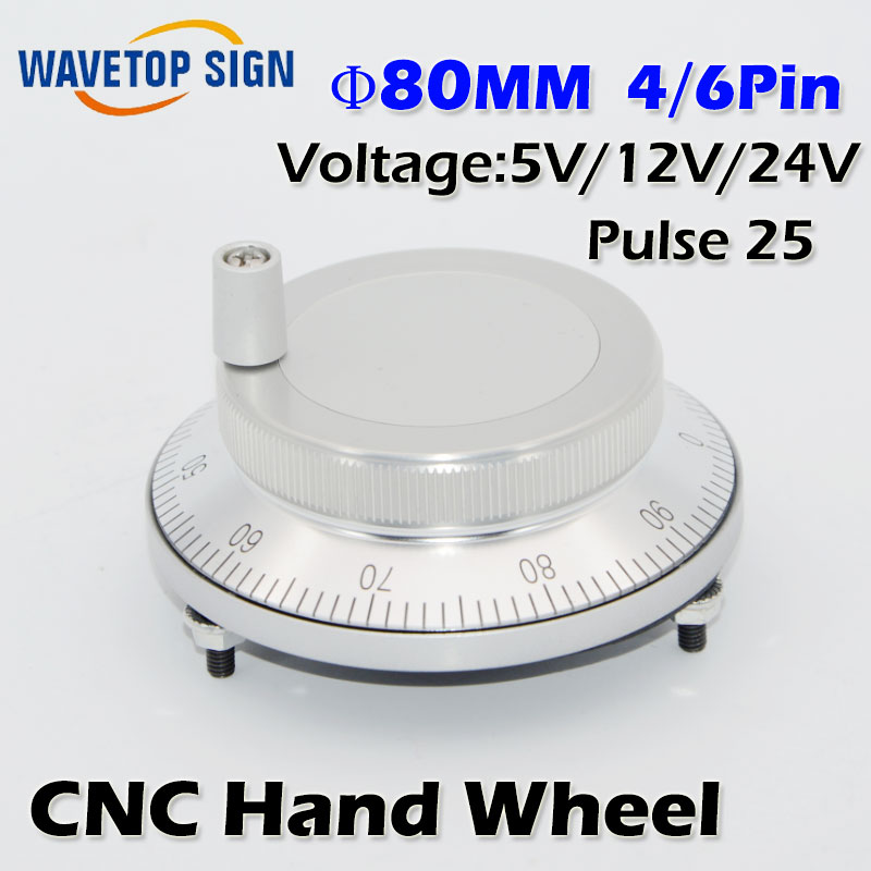 CNC electronic hand wheel handwheel Silver color diameter 80mm Pulse number 25 voltage 5v 12v 24v number of pins 4 and 6 tosoku japan east side panel type of hand pulse pulse device encoder re45t v