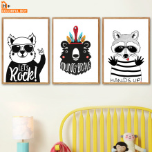 Bear Raccoon Feather Wall Art Canvas Painting Nordic Posters And Prints  Black White Animals Wall Pictures Baby Kids Room Decor beautiful peacock feather minimalist nordic posters and prints wall art canvas painting wall pictures baby kids room home decor