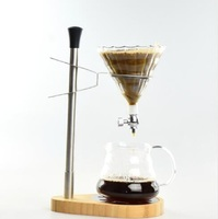 Free Shipping Bamboo Base Stainless Adjustable Steel Coffee Dripper Stand / Coffee Dripper set