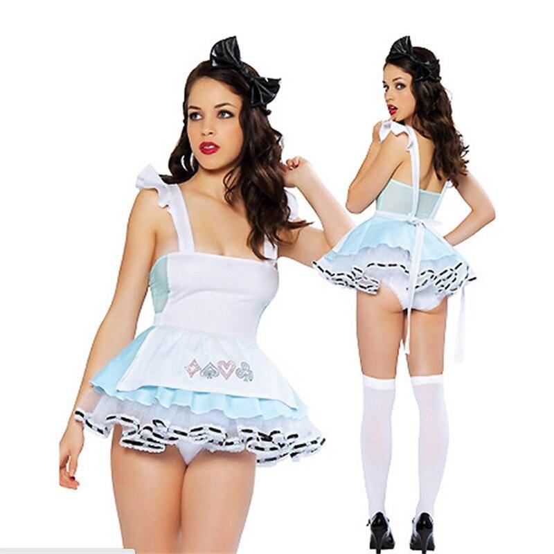 973b8e232954 2018 nuevo azul Alice Maid luz traje maid Fantasy Cosplay vestido Lolita  partido juego Sexy Alice In ...