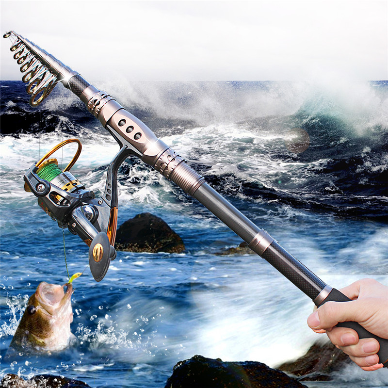 Sougayilang Spinning Rod and Reel Combos Carbon Telescopic Fishing Rod with  Reel Combo Sea Saltwater Freshwater Kit Fishing Pole 37d1e8f0f