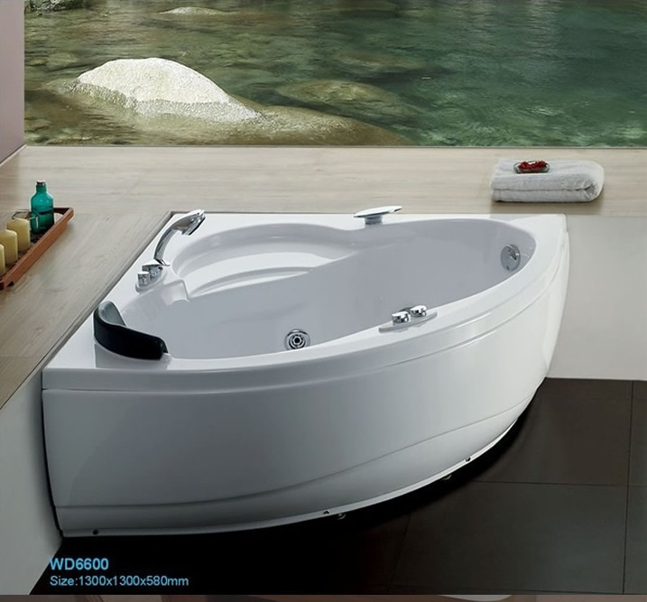Wall corner Fiber glass Acrylic whirlpool bathtub Triangular Hydromassage Tub Nozzles Spary jets spa RS6600