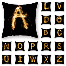 Hot Selling Pillow cover Pyrotechnic Black gold Alphabet Luxury Printing Square Zippered Pillow Sham Personalized Pillowcase