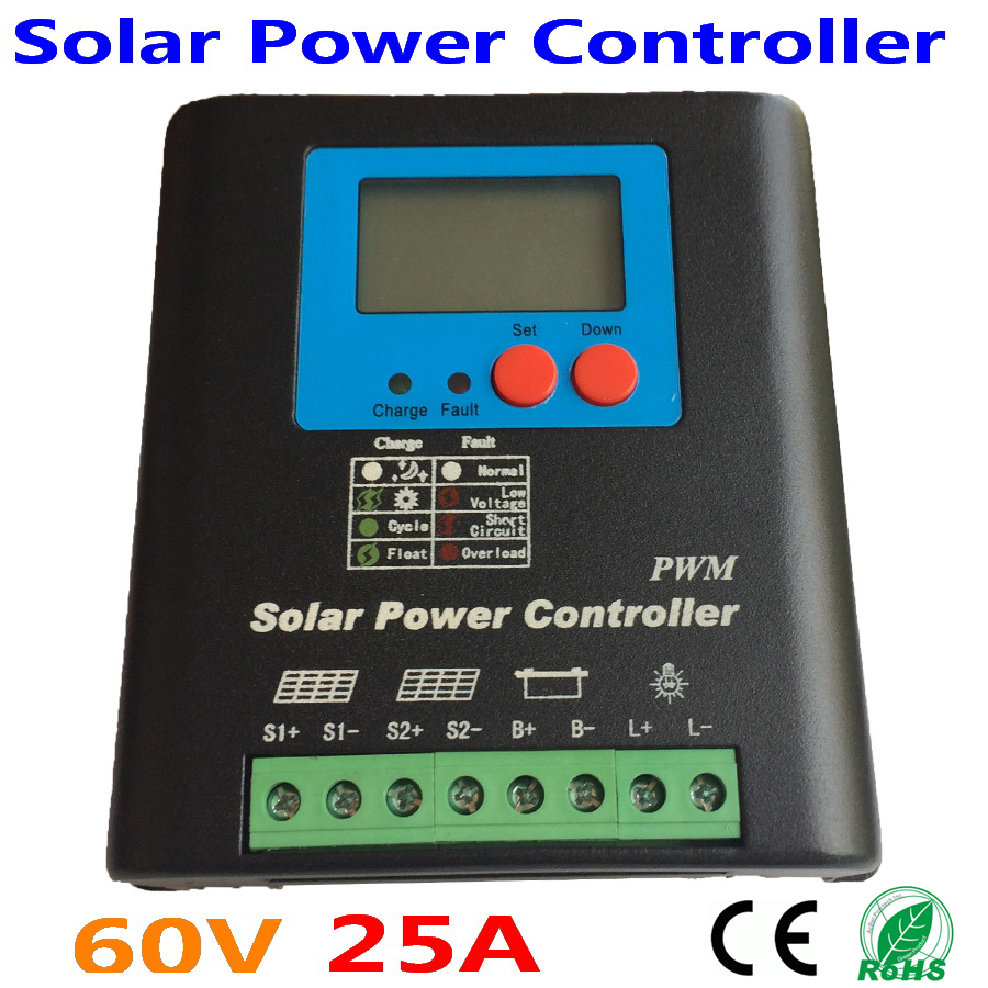 25A50A 60V 72V Solar Charge Controller, Home Use 60V Battery Regulator 25A for 1500W PV Solar Panels Modules, LED&LCD Display jamo 60v 72v
