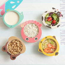 Baby Feeding Food Bowl Cute Cartoon Animal Bamboo Tableware Infant Kids Eating Food Anti-fall Bowl Portable Environmental Plate(China)